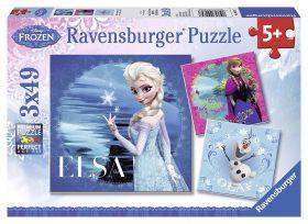 Puzzle 3x49 pezzi Frozen Ravensburger su ARSLUDICA.com
