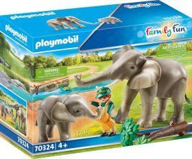 Playmobil 70324 Guardiano dello Zoo con Elefanti (Playmobil Zoo)