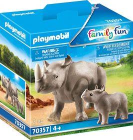 Playmobil 70357 Rinoceronte con Cucciolo (Playmobil Zoo)