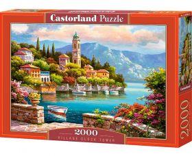 Puzzle 2000 pezzi Castorland Villaggio con Torre dell'Orologio   Puzzle Paesaggi