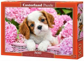 Pup in Pink Flowers (Puzzle 500 pezzi Castorland)