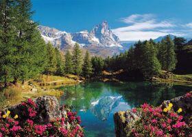 Puzzle Paesaggi Italia 1500 pezzi Ravensburger Lago Alpino con Cervino