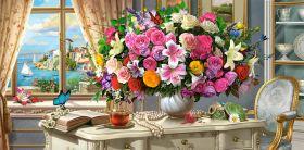 Puzzle 4000 pezzi Summer Flowers and Cup of Tea Castorland su arsludica.com