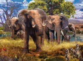 Puzzle Animali 500 pezzi Ravensburger Famiglia di Elefanti su arsludica.com