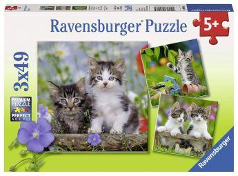 Puzzle 3x49 pezzi Gattini Ravensburger su ARSLUDICA.com