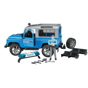 Land Rover Defender Station Wagon Polizia, luci e suono e poliziotto (Gioco Bruder)