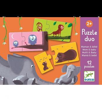Mini Puzzle Mom and Baby 12 pezzi (Mini Puzzle Djeco)