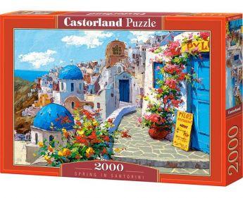 Puzzle 2000 pezzi Castorland Primavera a Santorini, Grecia | Puzzle Paesaggi Mare