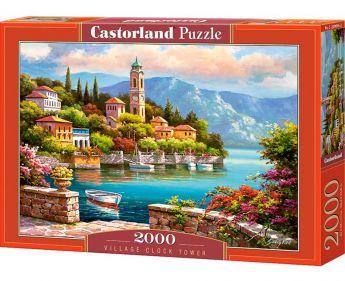 Puzzle 2000 pezzi Castorland Villaggio con Torre dell'Orologio | Puzzle Paesaggi