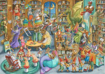 Puzzle Fantasy 1000 Pezzi Ravensburger Mezzanotte in biblioteca