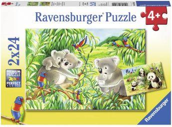 Puzzle 2x24 Pezzi Ravensburger Dolci Koala e Panda