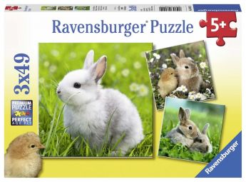 Puzzle 3x49 pezzi Teneri Coniglietti Ravensburger su ARSLUDICA.com